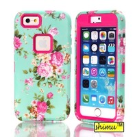 Iphone 6 Case, Plastic Hard Back Case Elegant Green Background Peony Pattern High Impact Hybrid Silicone Soft Case By Shimu Fit For Iphone 6 4.7 Inch Rose Red