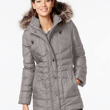 London Fog Down Coat, Faux-Fur Hooded Puffer Parka
