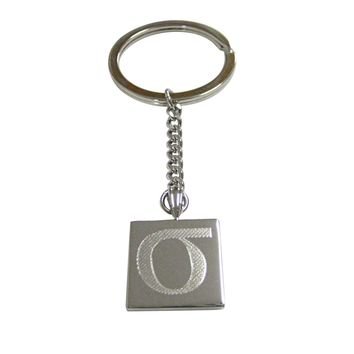 Silver Toned Etched Greek Lowercase Letter Sigma Pendant Keychain