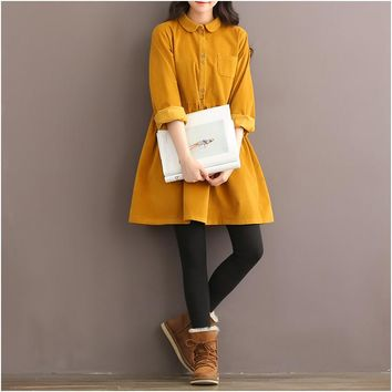 2015 new autumn winter fashion women clothing preppy style large size dress loose solid color corduroy vintage dresses female