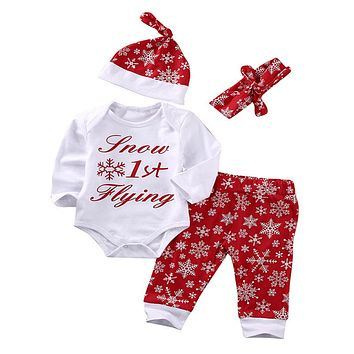 Snowflake Cotton Romper Pants Legging Hat Christmas Baby Girl Boy new arrival fashion Outfits Set clothes