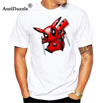 Antidazzle cute pikachu deadpool iron man super hero funny tshirt men new white Casual tee shirt homme  go t shirtKawaii Pokemon go  AT_89_9