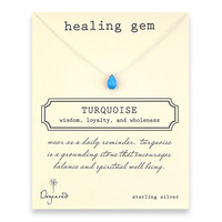 healing gem turquoise necklace, sterling silver