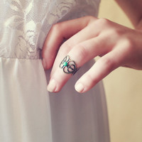 Retro Vintage Pastel Mint Lace Knuckle Ring - Free Shipping - Made to order :)