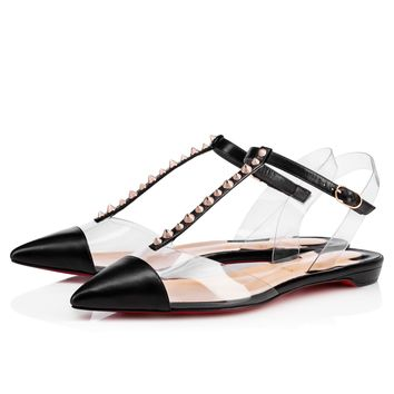 Nosy Spikes Flat Vers Black/Gold Rose Kid - Women Shoes - Christian Louboutin