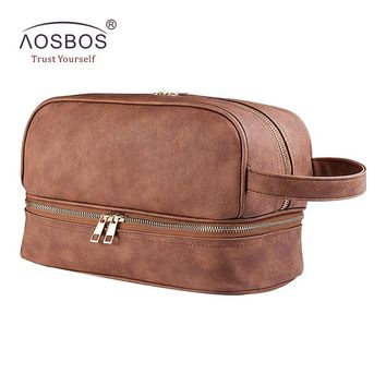 Aosbos Vintage PU Leather Cosmetic Bags Women Portable Travel Toiletry Bag Men Large Makeup Bag High Quality Zipper Wash Bag