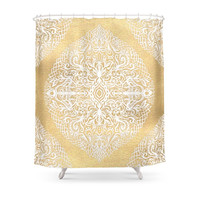 Society6 White Gouache Doodle On Gold Paint Shower Curtains