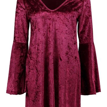 Heather Velvet Plunge bell sleeve Shift Dress