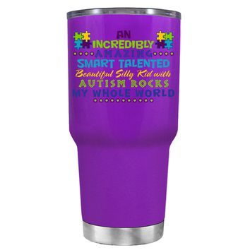TREK An Amazing Smart Talented Kid with Autism on Purple 30 oz Tumbler Cup