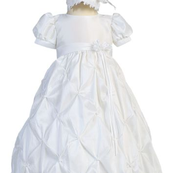 Taffeta Bubble Tucked White Christening Gown with Pick up Skirting - Baby Girls Newborn - 18 months