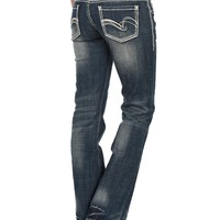 Rock & Roll Cowgirl Women's Medium Wash with Silver and White Embellishments Open Pocket Boot Cut Jeans