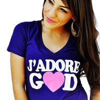 JCLU Forever Christian t-shirts — 009-J'ADORE GOD Purple V Christian T-Shirt