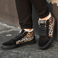Vans New Pattern Fashion Casual Leopard Flannel Casual Shoes