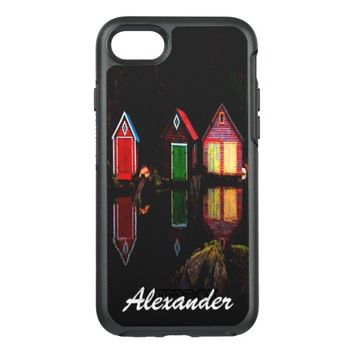 Bright colorful wooden boathouses and name OtterBox symmetry iPhone 7 case