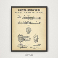 Dental Patent Poster, Dental Hand Piece Patent Drawing Printable INSTANT DOWNLOAD, Dental Art, Dentist Gift, Dental Clinic Decor, Dentistry