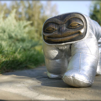 Frog Dog - Handmade Designer Art Toy - Silver Leather Body with Brass Face - Stuffed Plush - Designers Spencer Hansen and Aleph Geddis