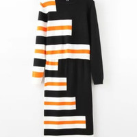 Black Color Block 2-Piece Knitted Set Shirt + Midi Skirt