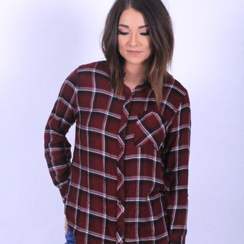 Something Borrowed Plaid Top