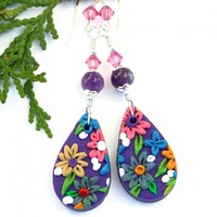 Purple and Pink Flower Earrings, Polymer Clay Embroidery Floral Amethyst Handmade Jewelry