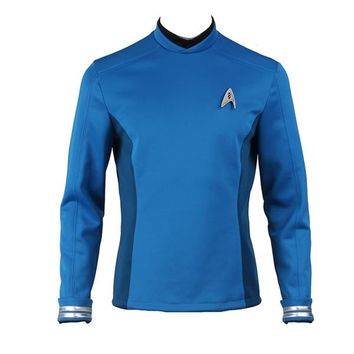 Spock Cosplay Costume Star Trek Beyond Uniform Blue Shirt Custom Made