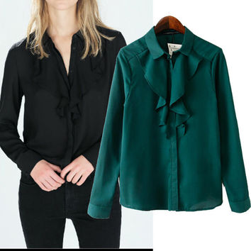 Green Black Shirt Collar Ruffled Long Sleeve Blouse