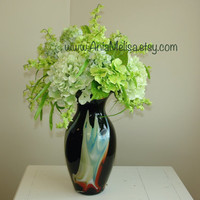 faux floral arrangements with hydrangeas, top table decoration, green hydrangeas centerpieces glass flower vase