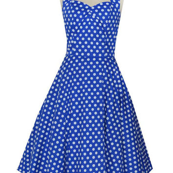 Blue Polka Dot Halter Backless Tent Mini Dress