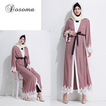 Muslim Abaya Maxi Dress Embrodiery Lace Cardigan Arab Long Robe Ramadan Kimono Thobe Islamic Clothing Prayer Worship Service