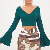 Forest Flute Sleeve Strap Back Crop Top