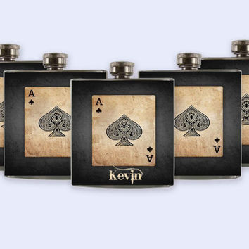 Groomsmen Personalized Custom Wedding Party Flask, Unique Ace of Spades Flask Set