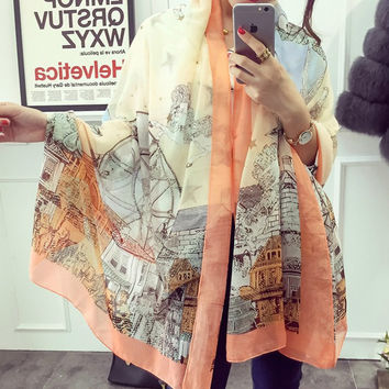 Summer Korean Orange Print Cotton Linen Scarf [6049386625]