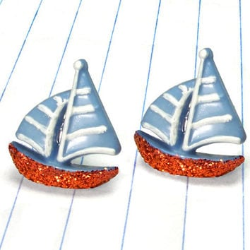 boat earrings - boat studs - boat jewelry - sailboat earrings - sailboat studs - sailboat jewelry - nautical earrings - nautical studs