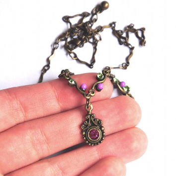 Vintage Art Nouveau Necklace - Vintage Filigree Brass Necklace - Romantic Beaded Chain Necklace