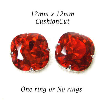 Light Siam Red Cushion Cut Glass Jewels, 12mm x 12mm Octagon, Silver Settings, One Ring or No Ring Settings, Rhinestone Beads, One Pair