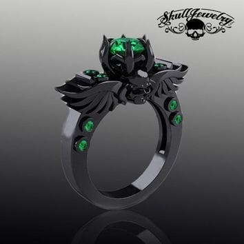 Emerald 'Green Goddess' Black Skull & Wings Ring with GREEN Stones (w001)