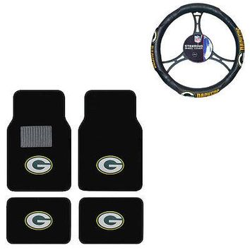 Licensed Official New 5pc NFL Green Bay Packers Car Truck Floor Mats & Steering Wheel Cover Set