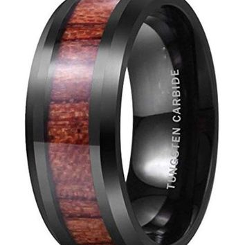 CERTIFIED 8mm Black Tungsten Carbide Ring Wood Inlay Wedding Band High Polished
