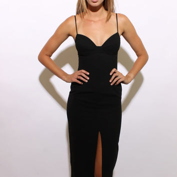 90s VAMPY BUSTIER high slit skirt sexy black gown underwire structured bra top sleeveless club cocktail dress sleeveless fitted XS S