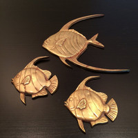 Set of 3 Vintage Brass Fish, Wall Decor