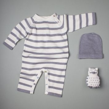 Estella Striped Organic Cotton Baby Romper With Hat and Owl or Elephant Rattle