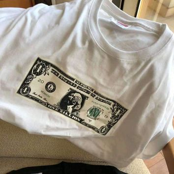 Supreme US Dollar short sleeve top blouse shirt