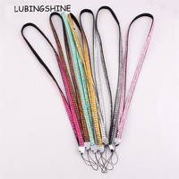 Colorful Resin lanyards Crystal Mobile glitter bling bling cell phone lanyard string Fit for id badge card holder FEAL O121