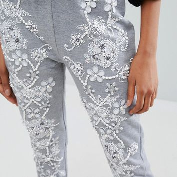 Starry Eyed Tall Heavily Embellished Floral Detail Joggers at asos.com