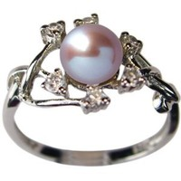 Amazon.com: Entwining Vine Cultured Pearl Cubic Zirconia Ring in Platinum Overlay CAREFREE Sterling Silver, Lavender: Dahlia: Jewelry