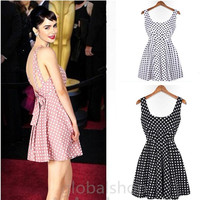 2014 Women Summer Backless Mini Chiffon Polka Dots Points Bohemian Evening Dress Ball Gown Cocktail Formal Dress = 1704368260