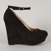Ailey-1 Suede Round Toe Ankle Strap Platform Wedge
