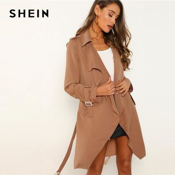SHEIN Camel Office Lady Belted Draped Cuff And Waist Solid Knee Length Coat Autumn Modern Lady Workwear Women Coats Outerwear