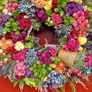 Elegant Dried Flower Wreath/ Spring Wreath/ Floral Wreath/ Mother's Day Gift