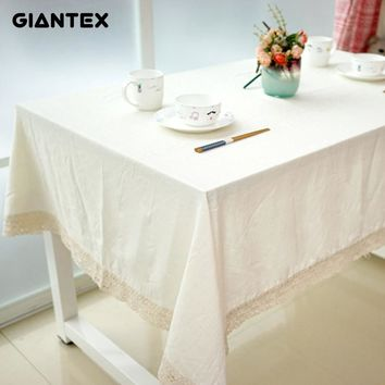 GIANTEX White Decorative Table Cloth Cotton Linen Lace Tablecloth Dining Table Cover For Kitchen Home Decor U1132
