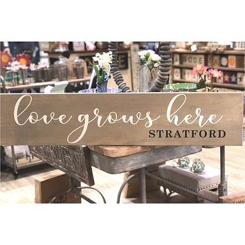 Love Grows Here Barn Board | Stratford | Grey Wash | 44-in